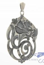 Antieke zilveren roos hanger Alex Meijer 1928-1953