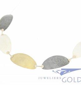 Zilveren collier handgemaakt tricolor