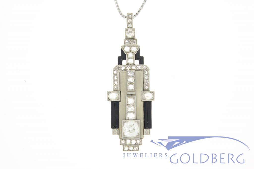 Art deco pendant made from 14k gold and diamonds goldberg antique white gold art deco pendant with diamonds mozeypictures Choice Image