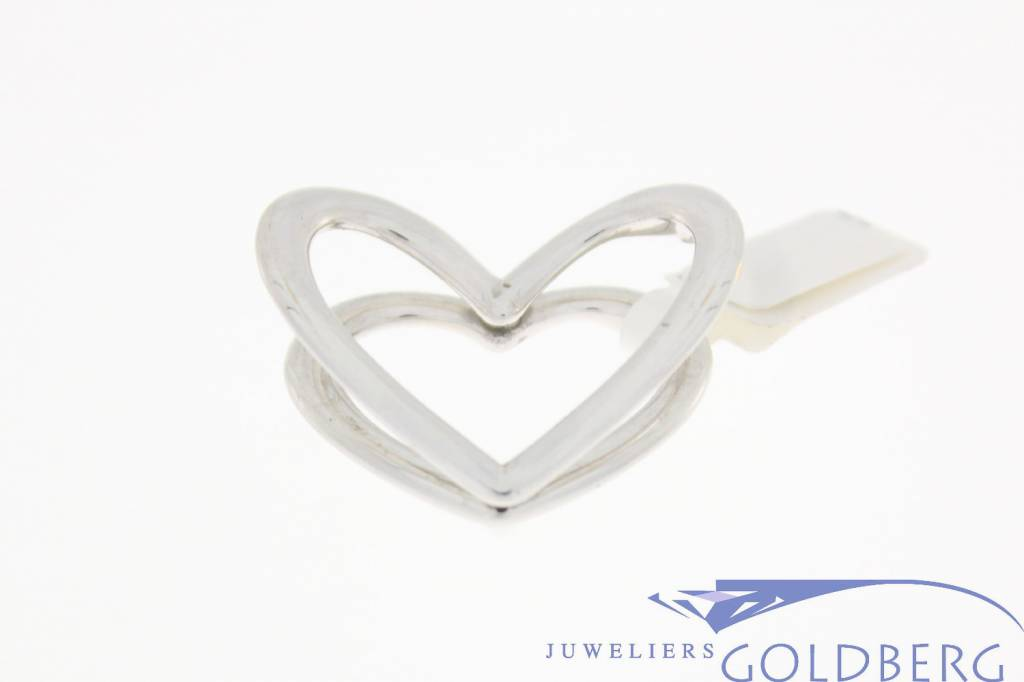 Vintage 14 carat white gold double heart pendant