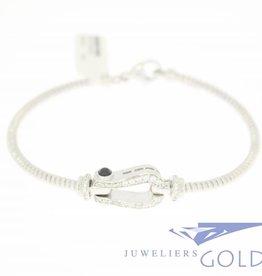 Zilveren armband sier gesp met zirconia's
