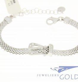 "Silver bracelet with ""decorative buckle"" and zirconia's"