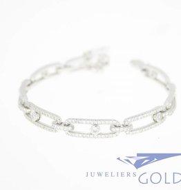 Zilveren armband schuivende zirconia's