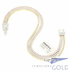 silver 3-color bracelet with zirconia's