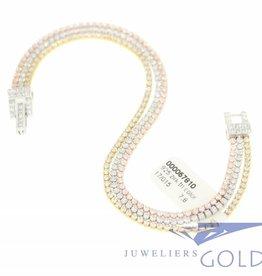 zilveren 3-kleuren armband met zirconia's