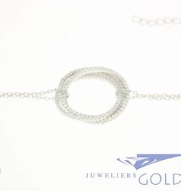 Silver bracelet tripple circle with zirconia