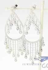 Stylish silver gala earrings with zirconia