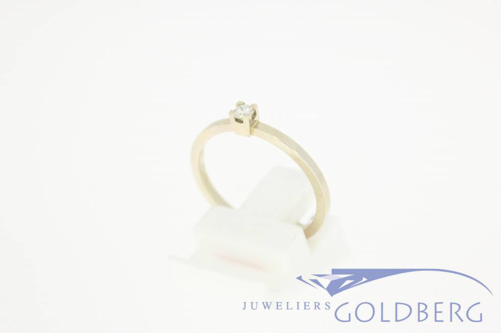 14k witgouden ring 0.10ct briljant