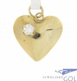Vintage 14k gouden hartvormige hanger met 1 zirconia