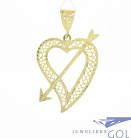 Vintage 14 carat gold open adorned pendant with heart and arrow