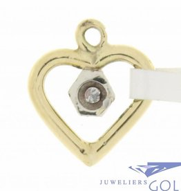 Vintage bicolor 18 carat gold open heart-shaped pendant with approx. 0.02ct diamond