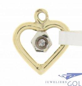 Vintage bicolor 18k gouden open hartvormige hanger met ca. 0.02ct diamant
