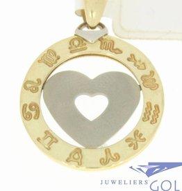 Grote vintage 14k bicolor gouden ronde hanger met hart en dierenriem inscriptie