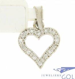Vintage 14k witgouden open hartvormige hanger bezet met diamanten