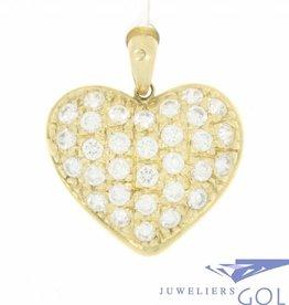 Vintage 14k gouden hartvormige hanger met zirconia