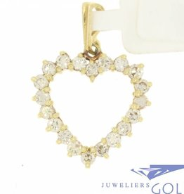 Vintage 14 carat gold open heart-shaped pendant with ca. 0.75ct brilliant cut diamond