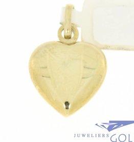 Eenvoudige vintage 14k gouden hartvormige hanger