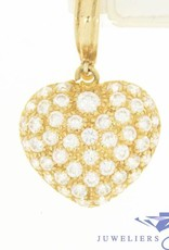 Large vintage 14 carat gold heart-shaped pendant with zirconia