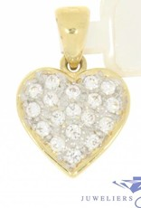 Vintage 14 carat gold heart pendant embedded with zirconia