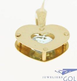 Grote vintage 14k gouden hartvormige hanger met facetgeslepen aquamarijn