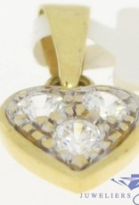 Vintage 18k gold heart-shaped pendant with zirconia