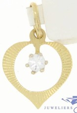 Delicate vintage 14 carat gold open heart pendant with zirconia