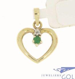 Vintage 14k gouden open hart hanger met smaragd en diamant