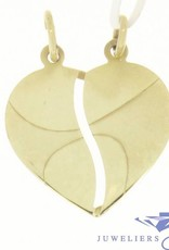 Vintage 14 carat gold edited breakheart pendant for two lovers
