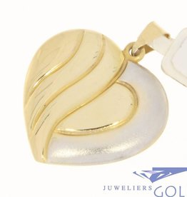 Large vintage 14 carat bicolor gold heart-shaped pendant