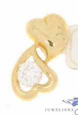 Vintage 18 carat gold pendant with 2 hearts and a zirconia