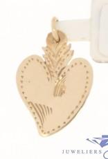 Vintage 14 carat rose gold adorned heart-shaped pendant
