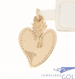 Vintage 14 carat rose gold adorned heart-shaped pendant