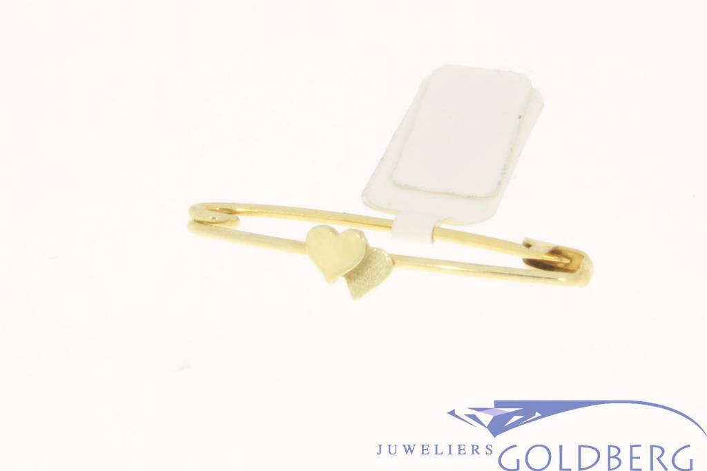 Vintage 14 carat gold pin with 2 hearts