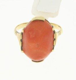 Vintage 14k gouden ring met grote ovalen bloedkoraal