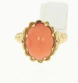 Vintage 14k gouden ring bloem met lichte bloedkoraal