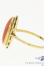Vintage 14 carat gold ring with a large red coral