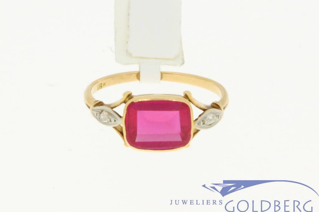 vintage 18k bicolor gold ring with beryl and diamonds - Goldberg