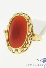 Vintage 14k gold ring with a big carnelian