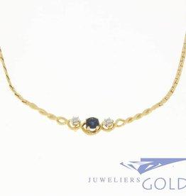 Vintage 18k gouden ketting met diamant en blauwe saffier