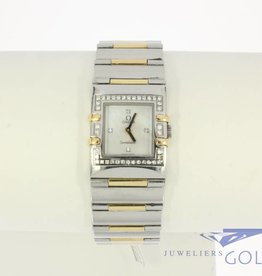 Omega Constellation Quadra Lady gold star watch with diamonds and mother-of-pearl clockface