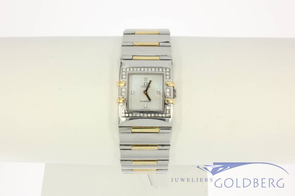 Omega Constellation Quadra Lady gold star watch with diamonds and mother-of-pearl clockfac