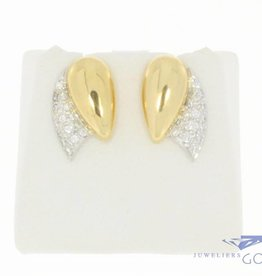 Vintage 18 carat bicolor earrings with approx. 0.30 carat diamond