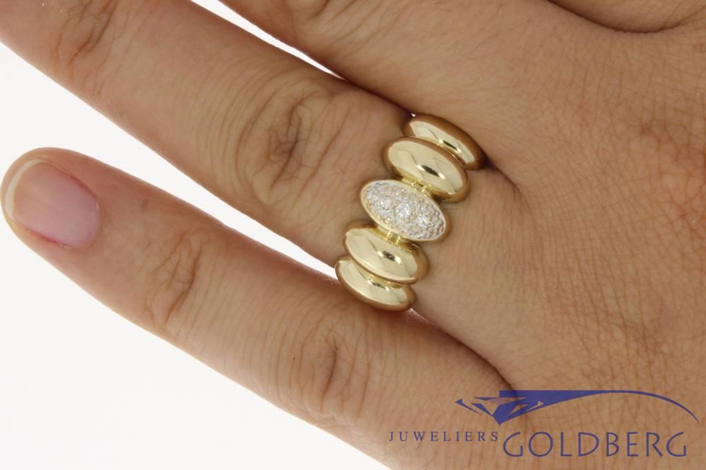 Bijzondere 14k gouden vintage ring met ca. 0.06c briljant