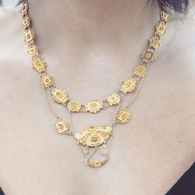 Antiek 14k geelgouden collier 1906-1953