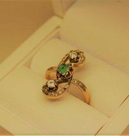 18k geelgouden antieke ring Frankrijk diamant en smaragd