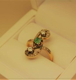 18k gold antique ring France 1847-1919 diamond emerald