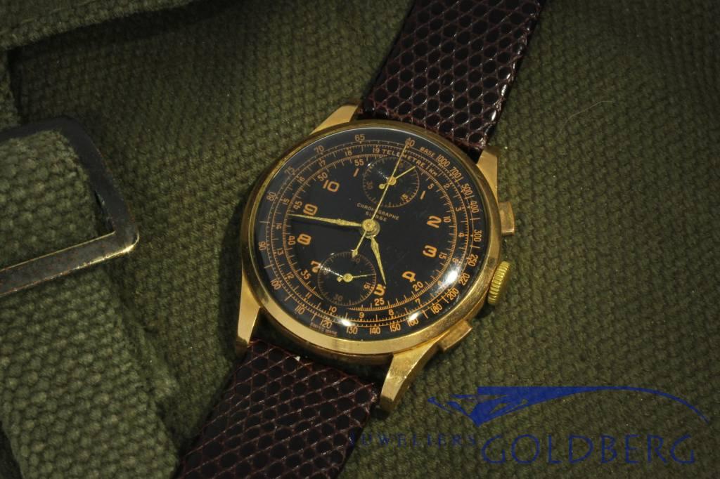 Chronographe Suisse Telemetre Venus 170, 18k gold vintage watch 1940's-50's