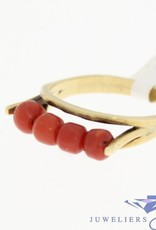 Unique 14 carat gold vintage alliance ring with red coral