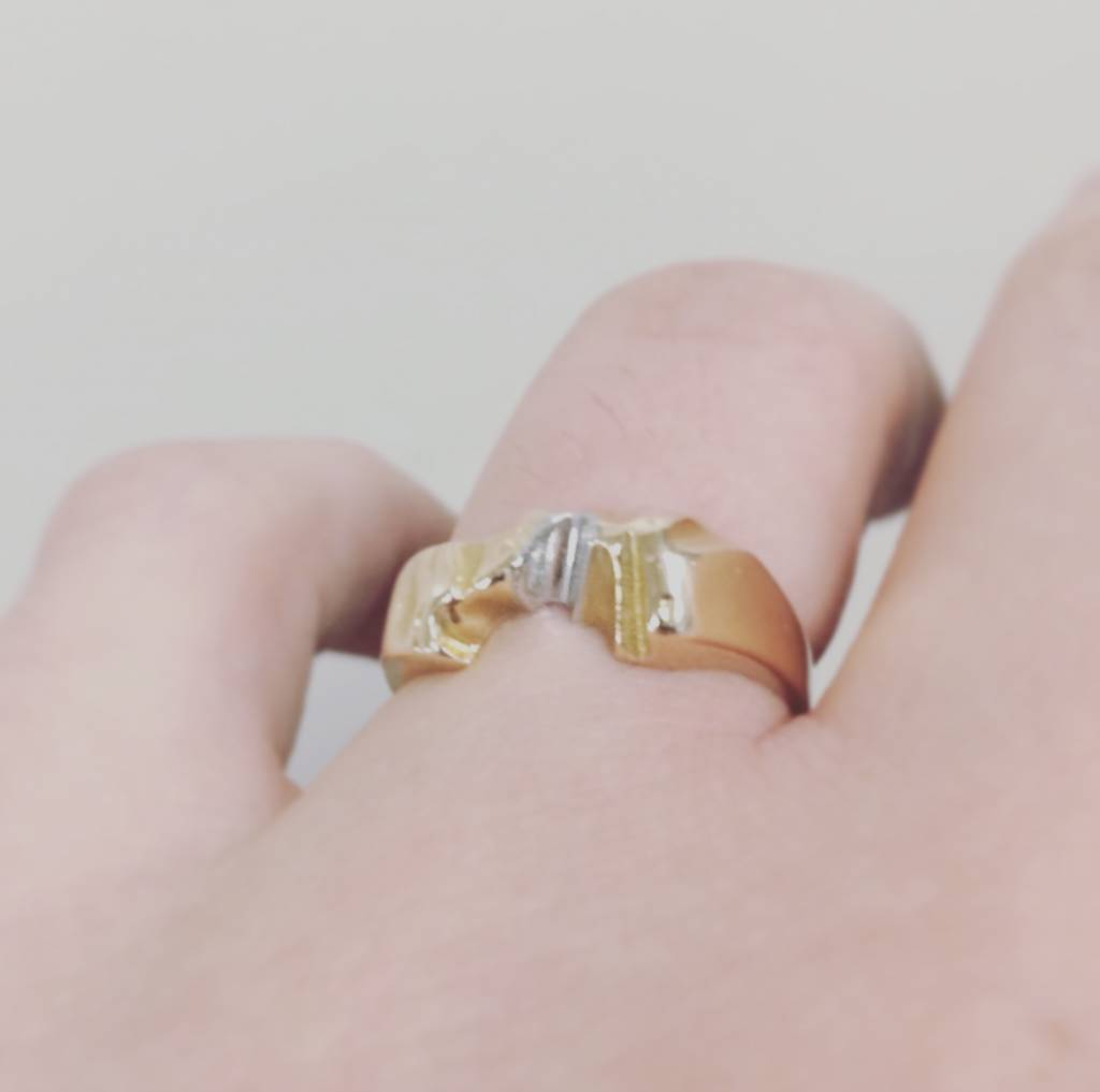 Vintage 14 carat bicolor gold Lapponia ring handmade