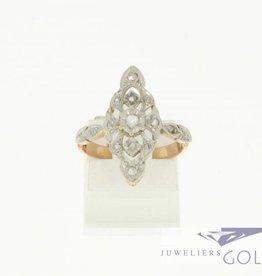 Antieke bicolor 18k goud en platina ring met ruw geslepen diamant